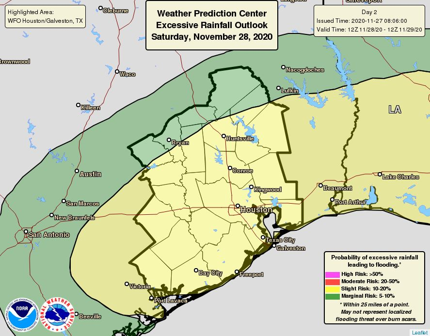Same excessive weather graphic as Friday, but instead, the yellow area that represents slight risk is extended further north and covers a much wider area of Southeast Texas.