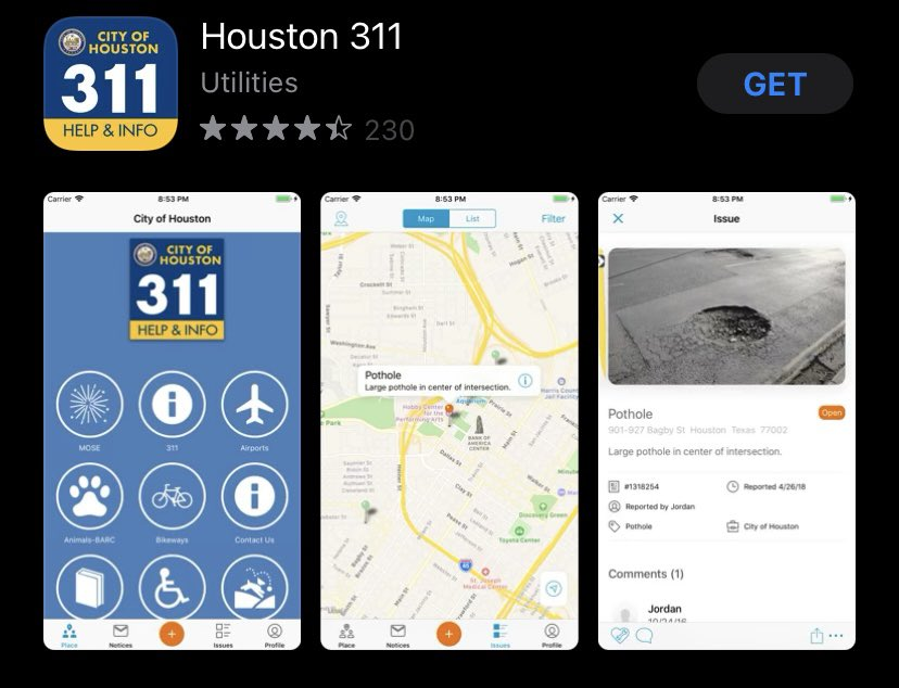 Screenshot of the 311 in the app store, which shows the home screen, a map for residents to identify a location, and the submission page