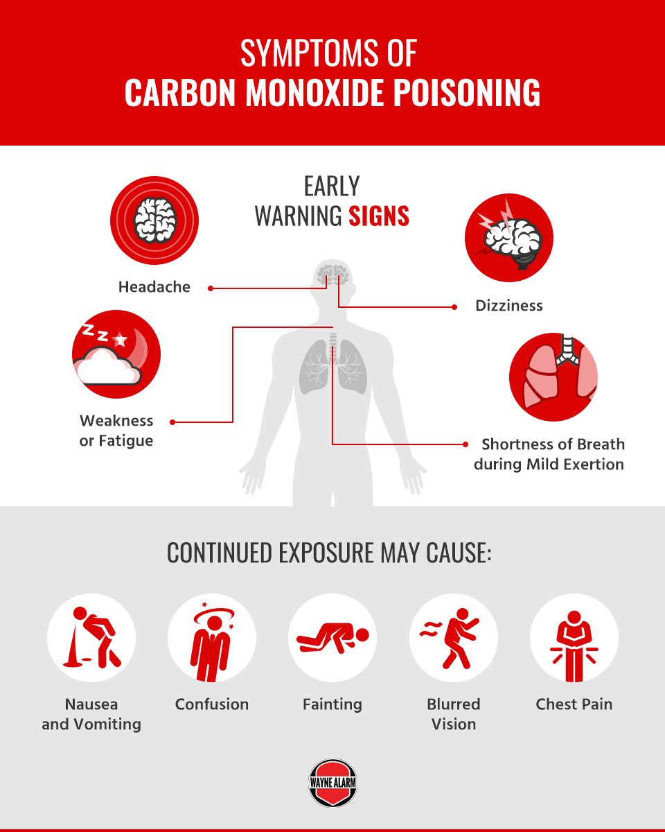 """Graphic titled """"Symptoms of carbon monixide poisoning."""" Areas point out along a gray male body: """"headache, dizziness, weakness or fatigue, shortness of breath during mild exertion."""" Below it are five circles with red human-like characters displaying """"continued exposure may cause: nausea and vomiting, confusion, fainting, blurred vision, chest pain"""""""