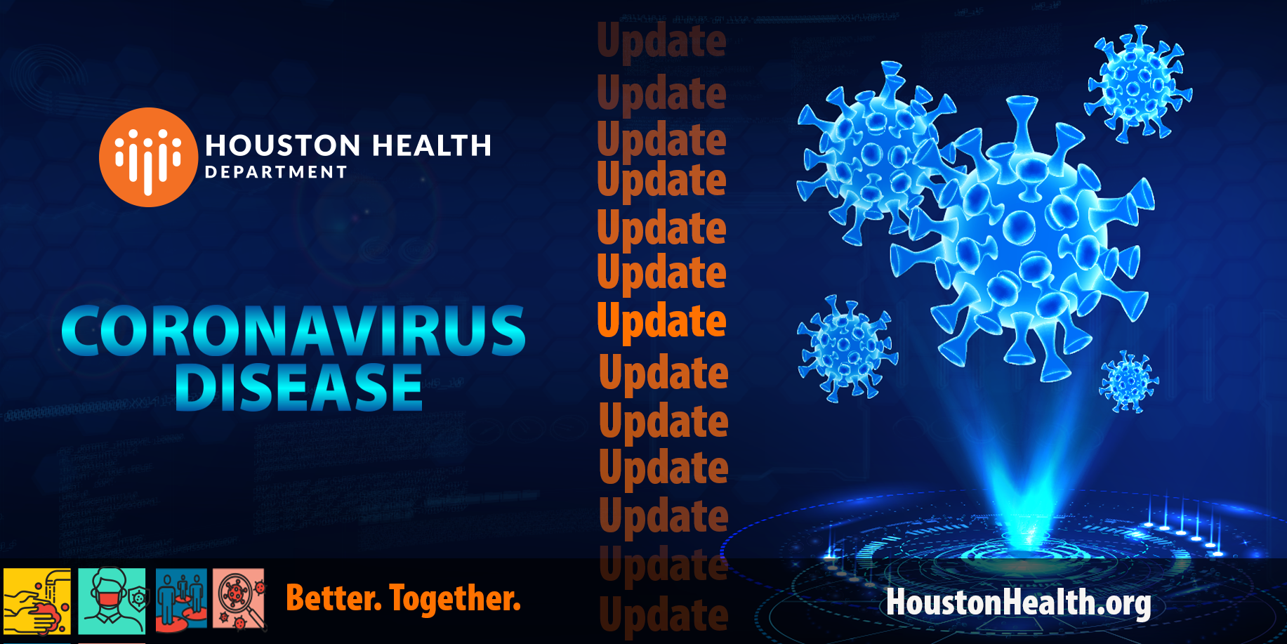 """Image reading """"Coronavirus Disease Update"""" with icon of virus as it appears under a microscope."""