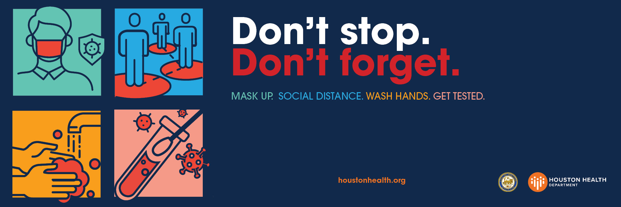 Icons for mask up, social distance, wash hands and get tested.