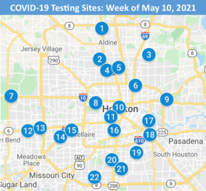 Map of Houston marking locations of COVID-19 testing sites for the week of May 10, 2021.